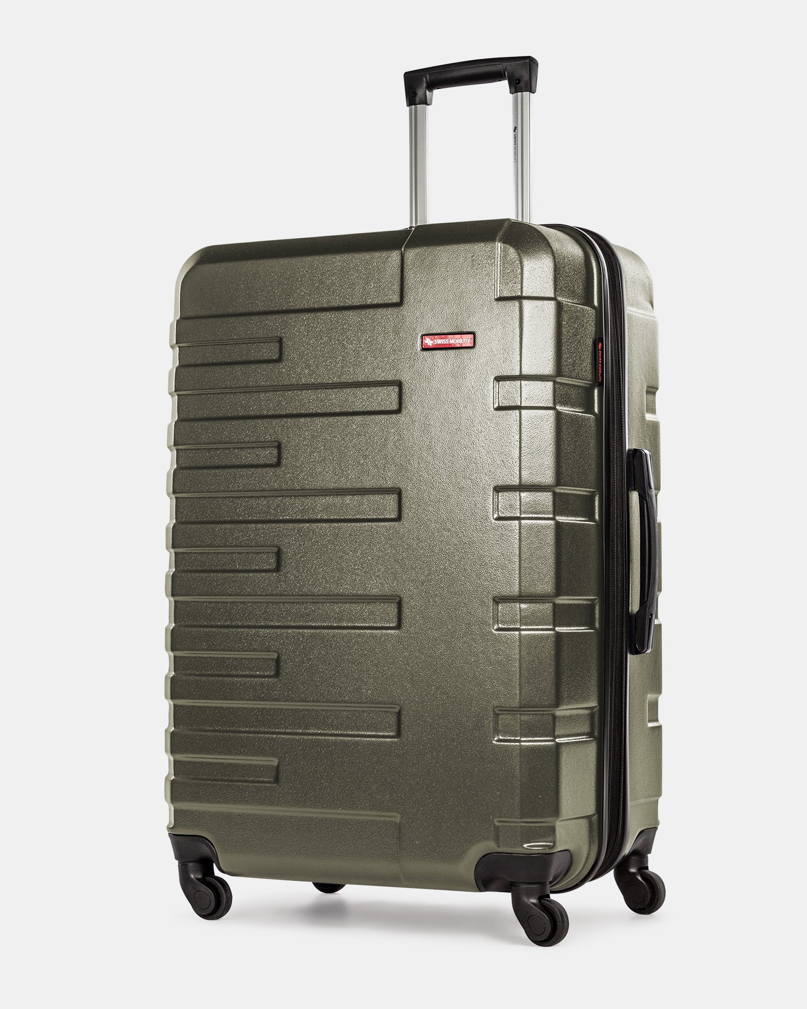 Quad  - Lightweight Hardside Luggage 28'' with Spinner wheels - Olive  - Swiss Mobility - Zoom