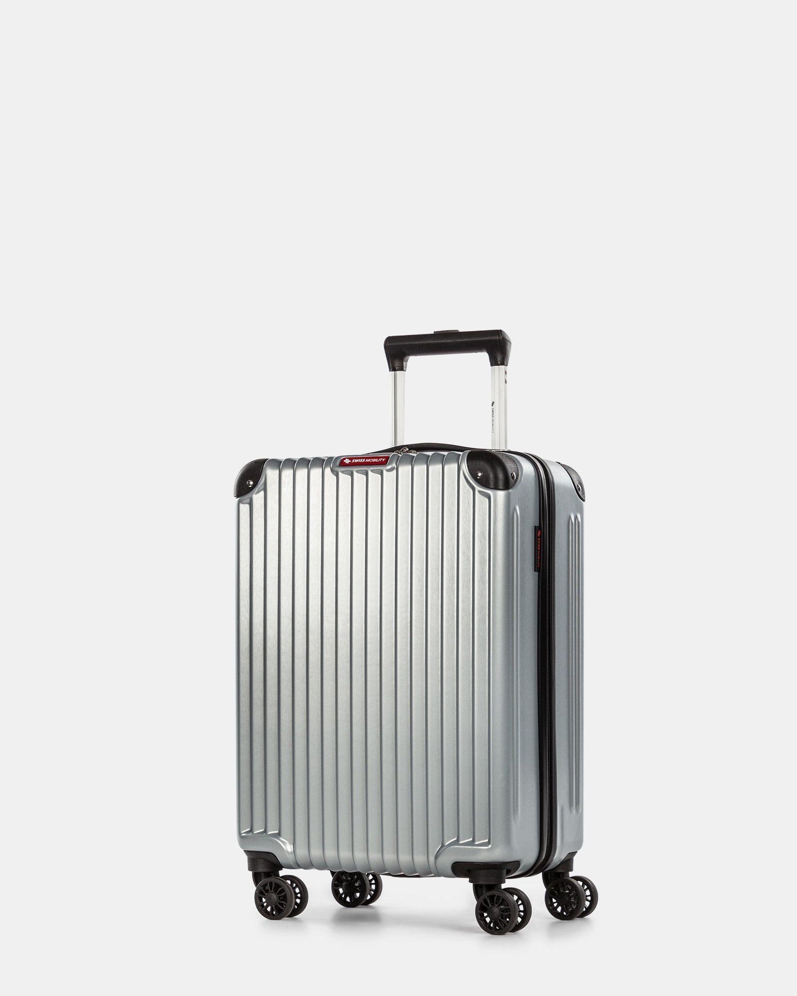 Ember - Lightweight Hardside Carry-on with double spinner wheels (8 wheels) - Silver - Swiss Mobility - Zoom