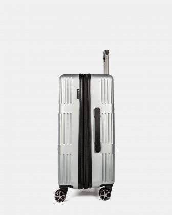 Highway - Lightweight Hardside Luggage 24'' with double spinner wheels (8 wheels) - Silver Swiss Mobility