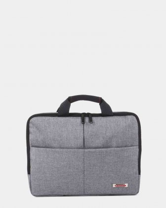 "Sterling - Slim Soft Briefcase for 15.6"" laptop & Tablet - Grey   Swiss Mobility"