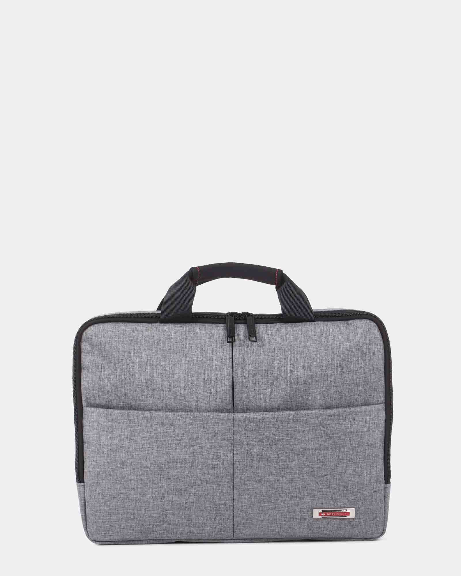 """Sterling - Slim Soft Briefcase for 15.6"""" laptop & Tablet - Grey   - Swiss Mobility - Zoom"""