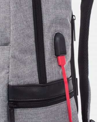 Sterling - Silm Backpack with USB port - Grey Swiss Mobility