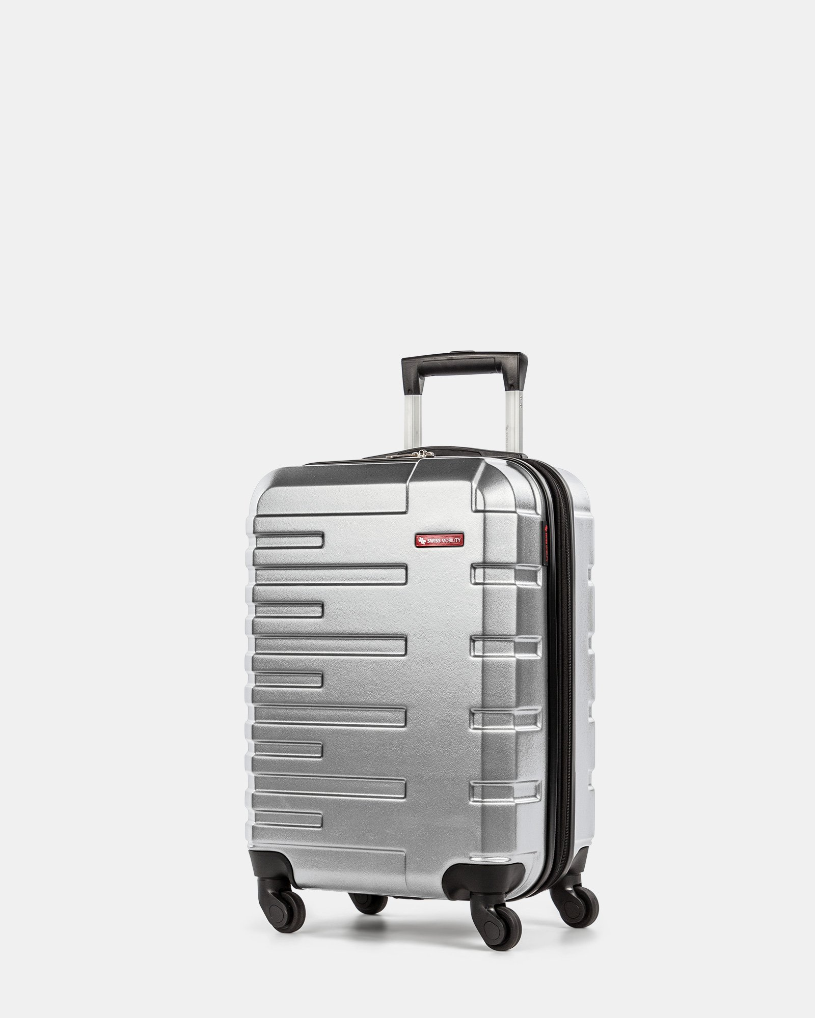 Quad - Lightweight Hardside Carry-on with Spinner wheels - Silver - Swiss Mobility - Zoom