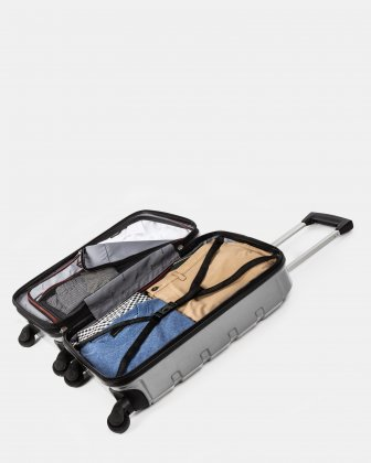 Quad - Lightweight Hardside Carry-on with Spinner wheels - Silver - Swiss Mobility