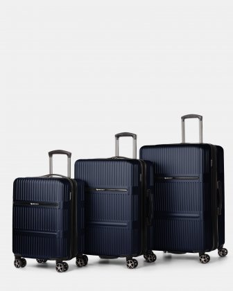 Swiss Mobility Highway – Lightweight Hardside 3-Piece Luggage Set with double spinner wheels (8 wheels) - Blue