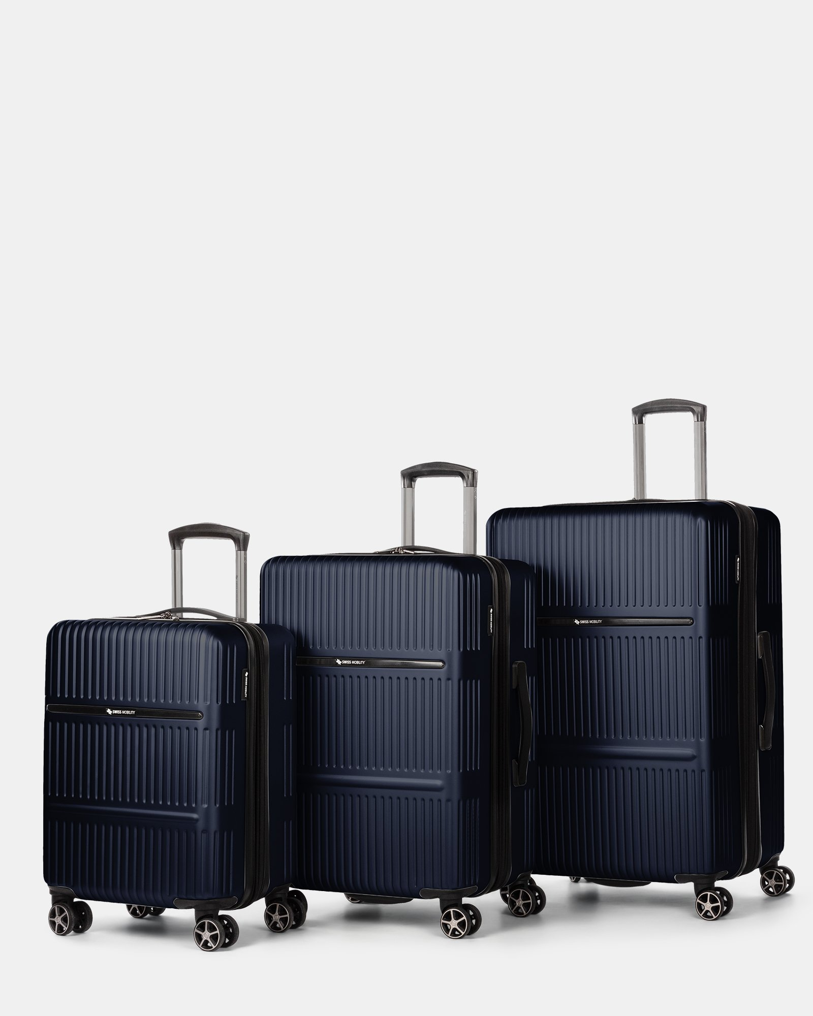 Highway – Lightweight Hardside 3-Piece Luggage Set with double spinner wheels (8 wheels) - Blue - Swiss Mobility - Zoom