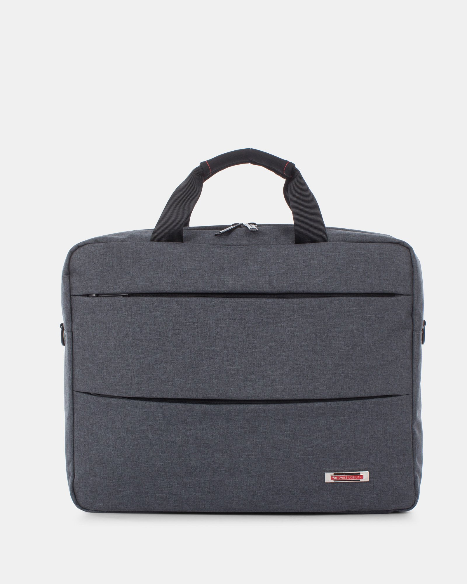 """Elevate – Soft Briefcase for 15.6"""" Laptop with Adjustable and removable shoulder strap - Grey    - Swiss Mobility - Zoom"""