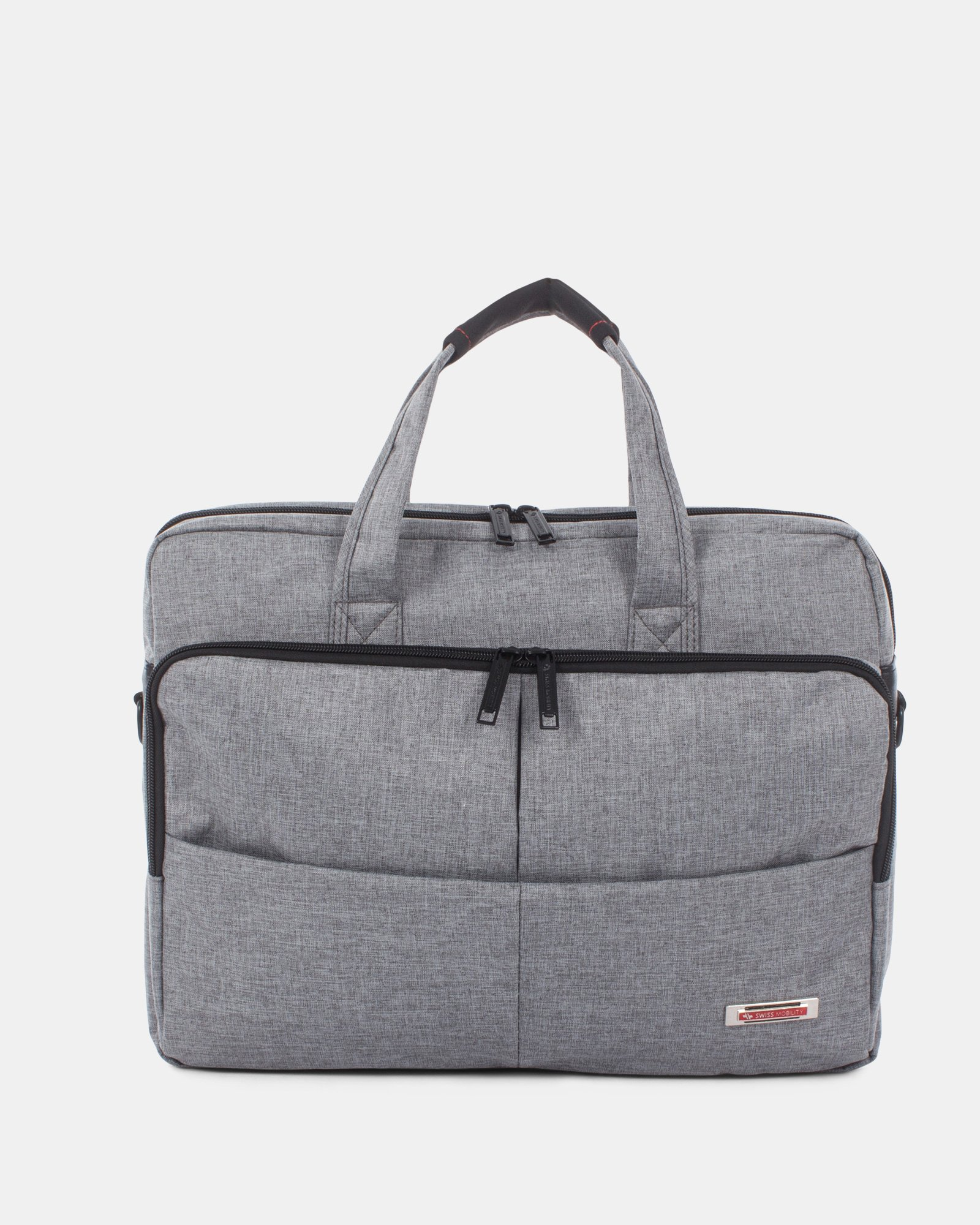 "Sterling – Soft Briefcase for 15.6"" laptop with Adjustable and removable shoulder strap - Grey  - Swiss Mobility - Zoom"