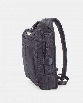 Purpose – TABLET Sling shoulder bag WITH Integrated USB port AND RFID PROTECTION - BLACK - Swiss Mobility