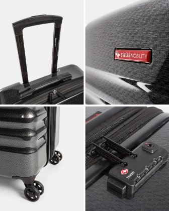 Stratus – Hardside Carry-On Luggage with TSA lock & Integrated USB port - Charcoal - Swiss Mobility