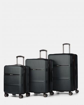 Highway – Lightweight Hardside 3-Piece Luggage Set with double spinner wheels (8 wheels) - Charcoal Swiss Mobility