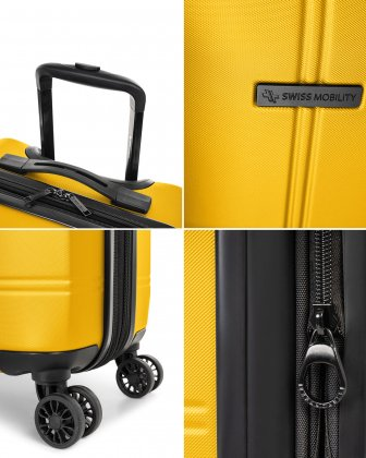 """LAX - 21.5"""" HARDSIDE CARRY-ON WITH integrated USB port - YELLOW - Swiss Mobility"""