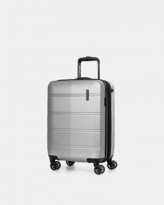 "LAX - 21.5"" HARDSIDE CARRY-ON WITH integrated USB port - SILVER Swiss Mobility"