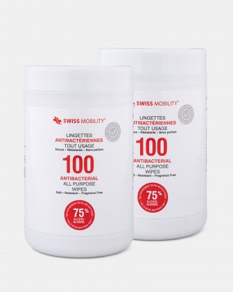 Swiss Mobility - Pack of 2 Canister of 100 Antibacterial wipes  -  75% alcohol, 25% water  Swiss Mobility